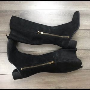 Nine West Nwolette Leather Suede Black Heel Boots